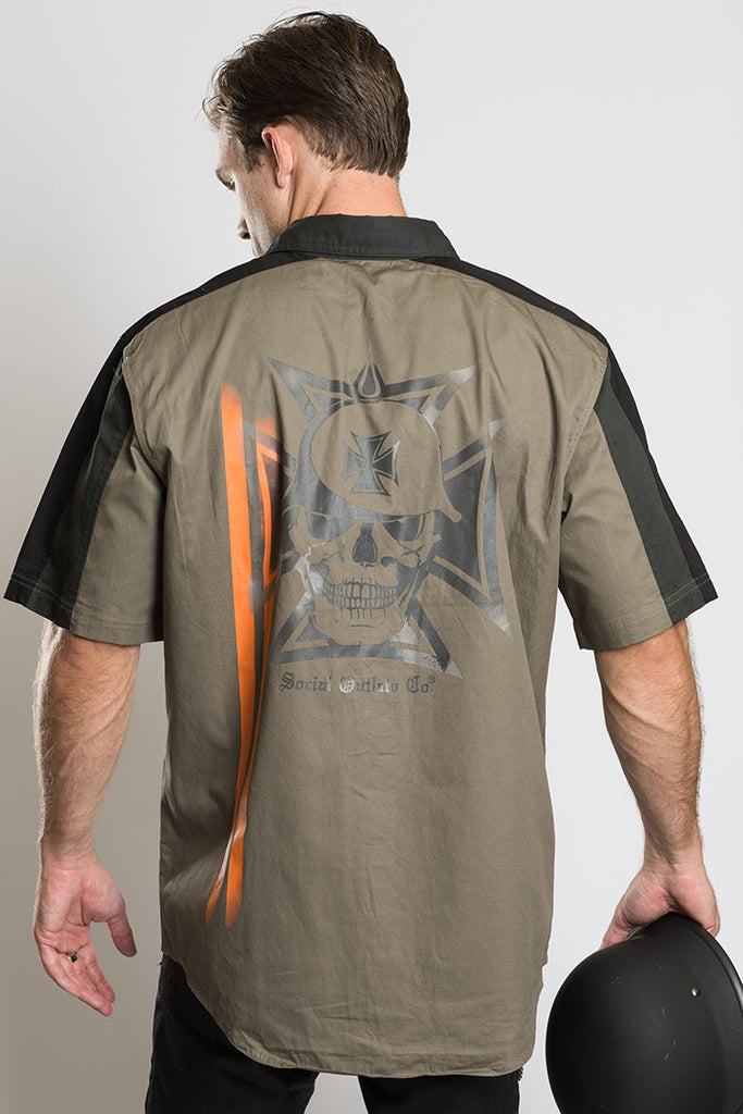 Biker Skull Graphics Mechanics Shirt