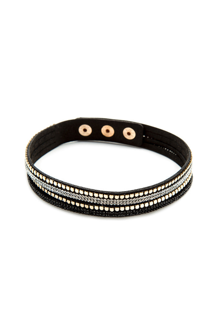 Gold Stud and Bling Faux Suede Bracelet