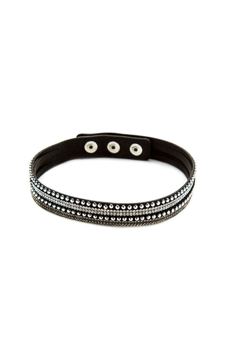 Silver Stud and Bling Faux Suede Bracelet