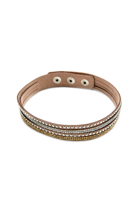 Silver Stud and Bling Brown Faux Suede Bracelet