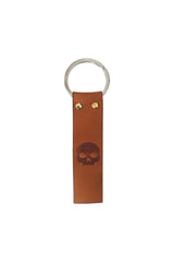 Single Key-Skull Brown Leather