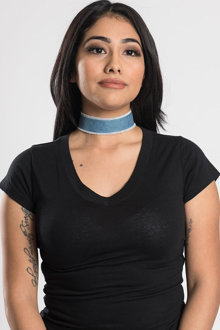 Plain Denim Choker