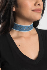 Nailheads Denim Choker