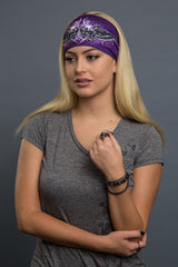 Purple - Headband - Tribal Skulls Lady Guns Stone EZ Bandz - 4