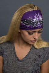 - Headband - Tribal Skulls Lady Guns Stone EZ Bandz - 6