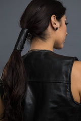 Black / 4 inch - Ponytail Holder - Flames Embossed Hair Glove - 1