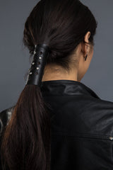 Black / 4 inch - Ponytail Holder - Tapered Cut-Out Stone Hair Glove - 1
