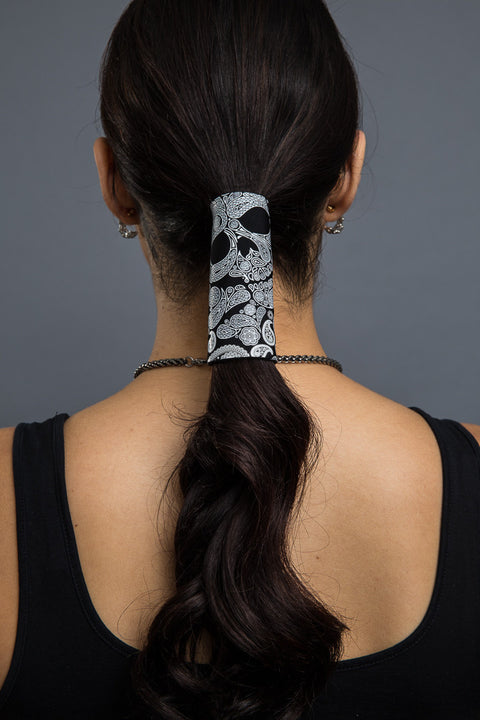 - Ponytail Holder - Skull Paisley Neoprene Hair Glove - 2