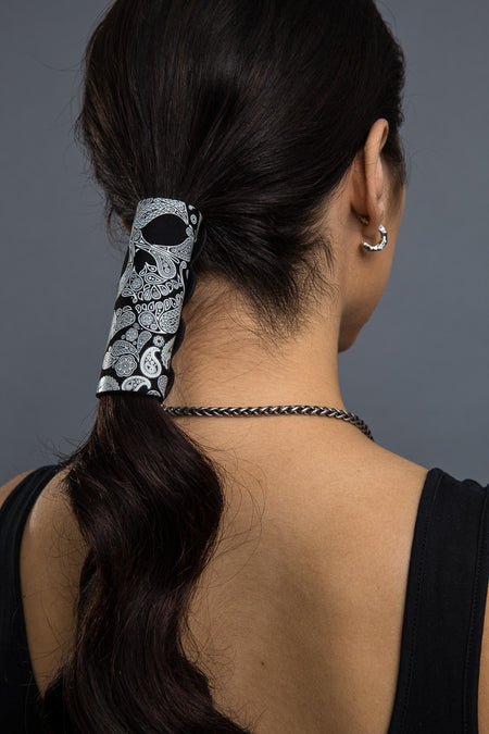 Black / 4 inch - Ponytail Holder - Skull Paisley Neoprene Hair Glove - 1