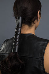 Black / 8 inch - Ponytail Holder - Tribal Hart Cut-out Stone Hair Glove - 1