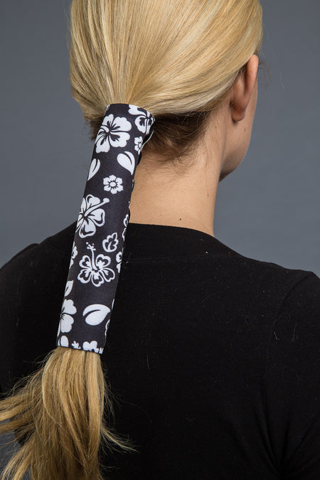 Black / 8 inch - Ponytail Holder - Hibiscus Flower Neoprene Hair Glove - 1