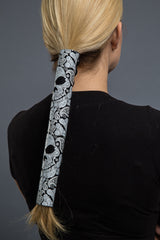 Black / 12 inch - Ponytail Holder - Skull Paisley Neoprene Hair Glove - 4