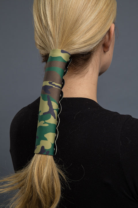 Green / 8 inch - Ponytail Holder - Camouflage Neoprene Hair Glove - 1