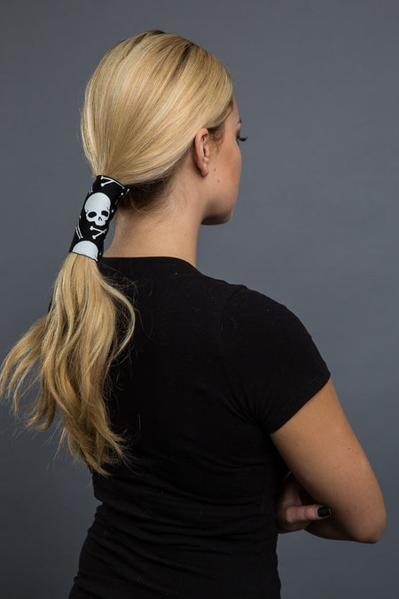 Black / 4 inch - Ponytail Holder - Skeleton Neoprene Hair Glove - 1