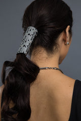 Black / 4 Inch - Ponytail Holder - SOA Pattern Stone Hair Glove - 1