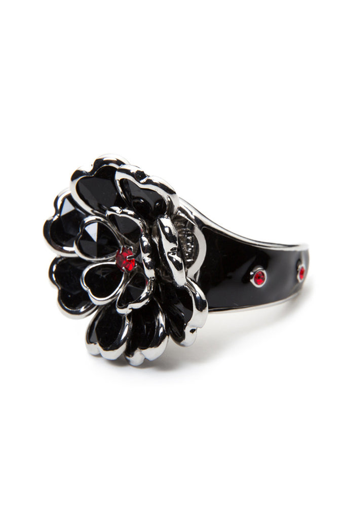 Black Heart Petals Stone Hair Ringz