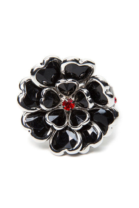 - Hair Pin - Black Heart Petals Stone Hair Ringz - 2