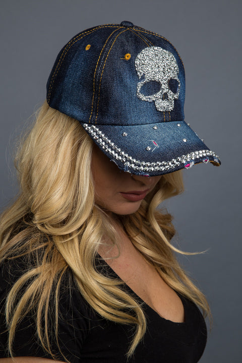 - Denim Cap - Bling Skull Denim Cap - 2