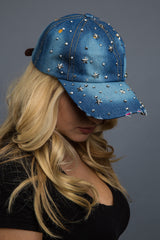- Denim Cap - Bling Starry Night Denim Cap - 2