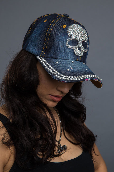 - Denim Cap - Bling Skull Denim Cap - 6