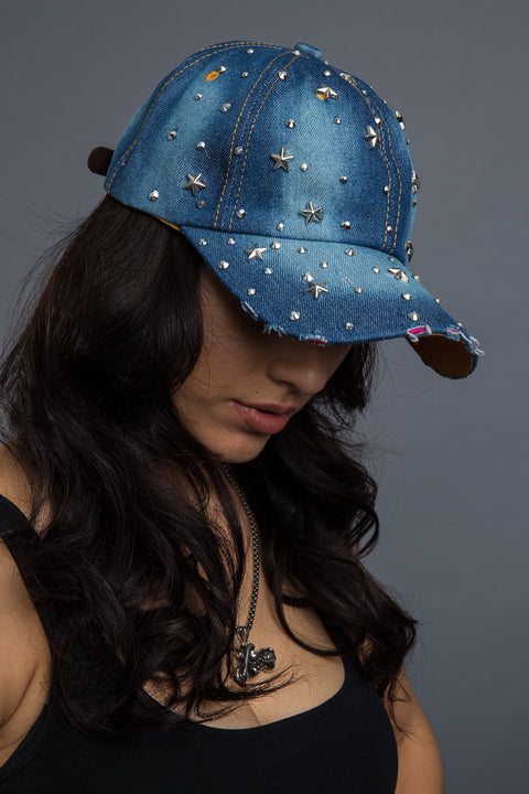 - Denim Cap - Bling Starry Night Denim Cap - 4