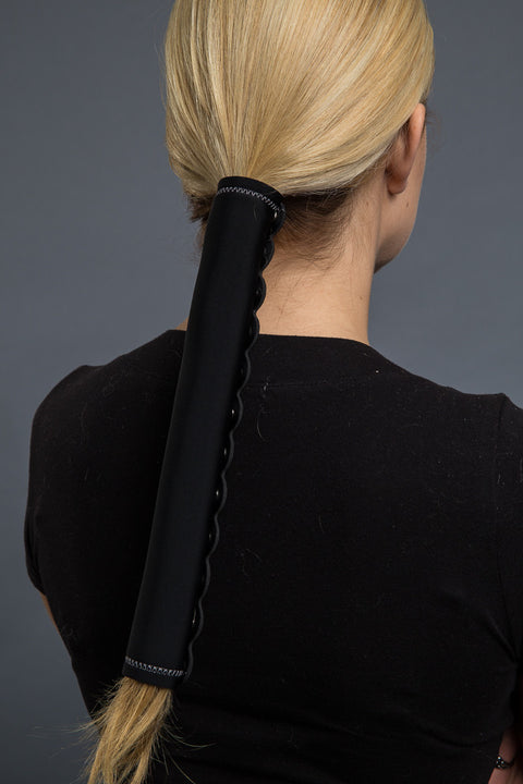 Black (with gray stitching) / 12 inch / Standard - Ponytail Holder - Classic Neoprene Hair Glove - 3