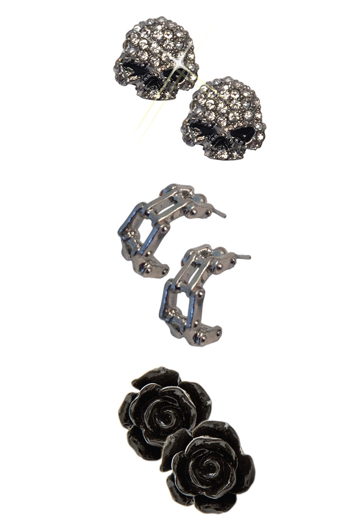Set #1: Bling Skull (Chrome), Biker Chain & Black Rose