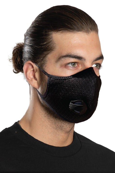 Solid Black w/1-Way Discharge Valve Riding Mask