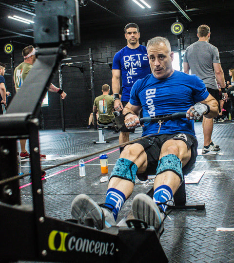 aging athlete working out on a rowing machine