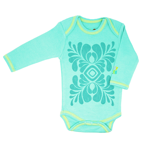 Indus Onesie - Turquoise - Long-Sleeve, 100% Organic Cotton