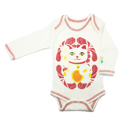 Lucky Cat Onesie - Red - Long-Sleeve, 100% Organic Cotton