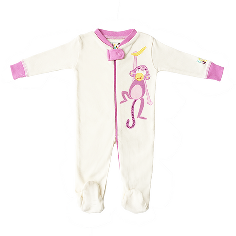 Monkey Footie - Pink, 100% Organic Cotton - Baby Hero - 2