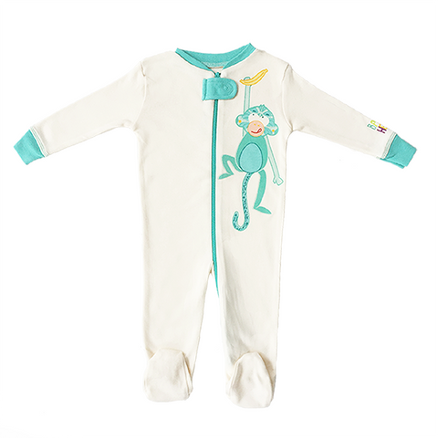 Monkey Footie - Turquoise, 100% Organic Cotton - Baby Hero - 2