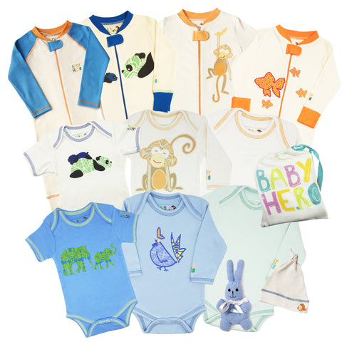 12 Piece All-Organic Starter Kit - Boy, Birth to 12 Months - 100% Organic Cotton