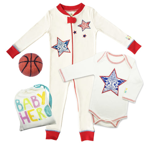 All-American 3-Piece Basketball Gift Set - Onesie/Footie/Toy - 100% Organic Cotton - Baby Hero - 1