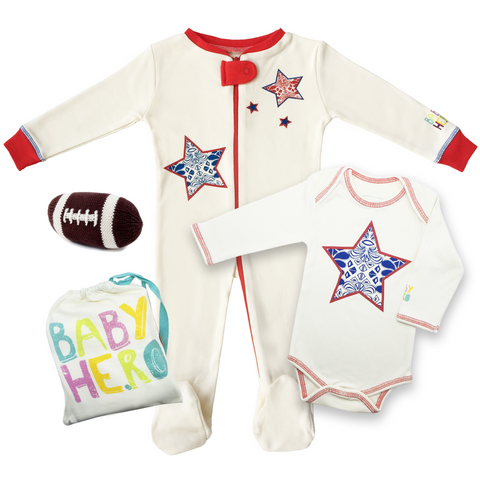 Rugby/Football Gift Set - Onesie + Footie + Rattle