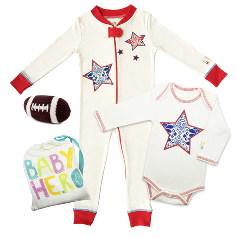 All-American 3-Piece Football Gift Set - Onesie/Footie/Toy - 100% Organic Cotton - Baby Hero - 1