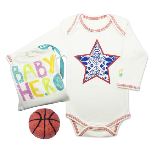 All American Onesie/Toy Gift Set - Basketball or Football  - 100% Organic Cotton - Baby Hero - 2