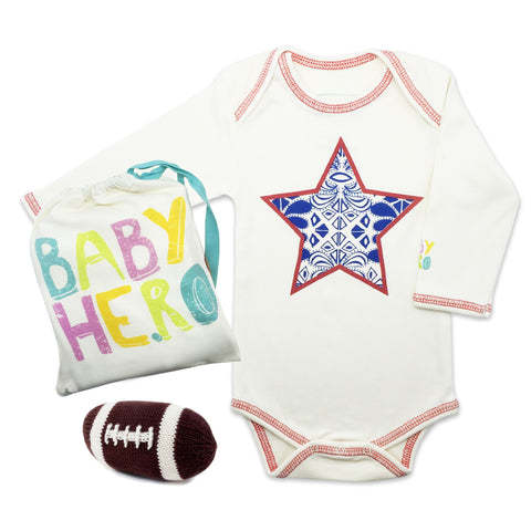 All American Onesie/Toy Gift Set - Basketball or Football  - 100% Organic Cotton - Baby Hero - 1