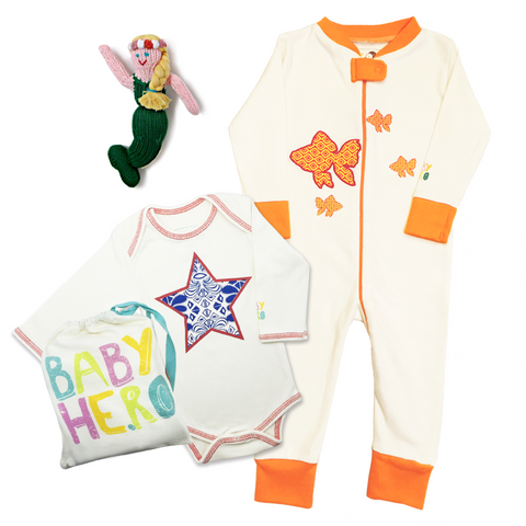 Cali Baby Mermaid Gift Set - Onesie/Footie/Toy - 100% Organic Cotton - Baby Hero - 1