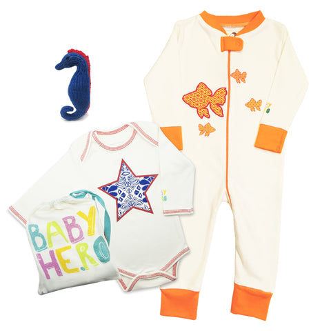Beach Bum Seahorse Gift Set - Onesie/Footie/Toy - 100% Organic Cotton - Baby Hero - 1