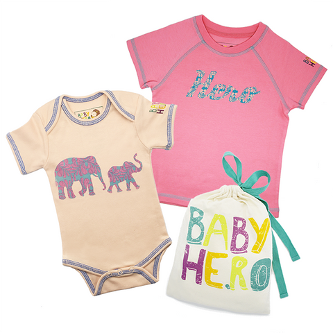 Big Sibling & Baby Sibling Gift Set - Toddler Tee, Baby Onesie - 100% Organic Cotton - Baby Hero - 1