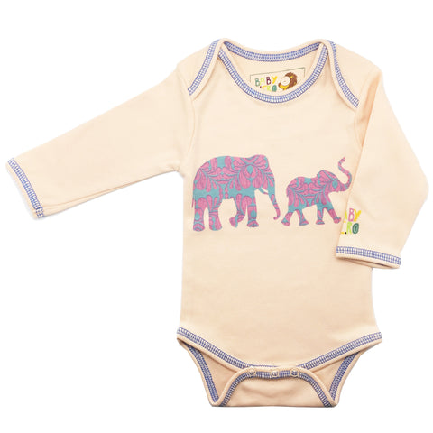 Hathi Onesie - Peach - Long-Sleeve, 100% Organic Cotton - Baby Hero - 1