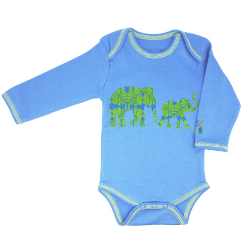 Hathi Onesie - Blue - Long-Sleeve, 100% Organic Cotton - Baby Hero - 1