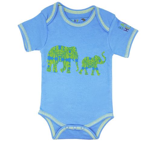 Hathi Onesie - Blue - Short-Sleeve, 100% Organic Cotton - Baby Hero - 1