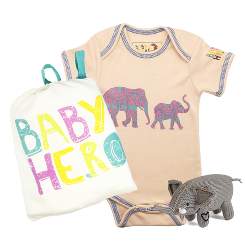 Baby Elephant Gift Set - Peach