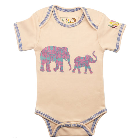 Hathi Onesie - Peach - Short-Sleeve, 100% Organic Cotton - Baby Hero - 1