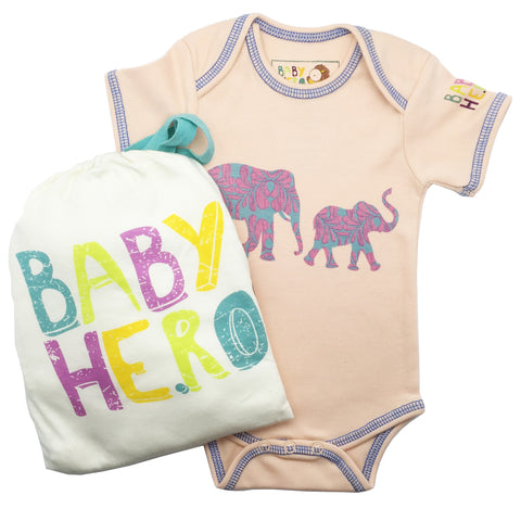 Hathi Onesie - Peach - Short-Sleeve, 100% Organic Cotton - Baby Hero - 2