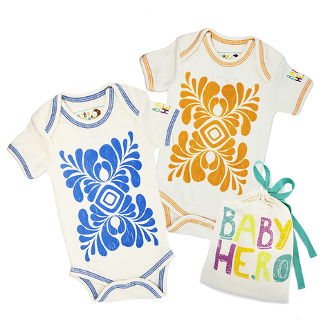 Two is Better Than One - Onesie Bundle Gift Set - 100% Organic Cotton - Baby Hero - 6