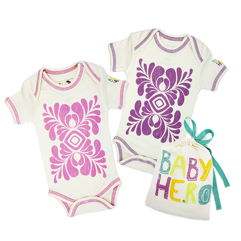 Two is Better Than One - Onesie Bundle Gift Set - 100% Organic Cotton - Baby Hero - 1